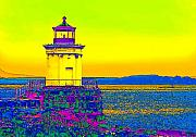 Maine Lighthouses Digital Art Prints - Portland Bug Light Print by Susan Elizabeth Dalton