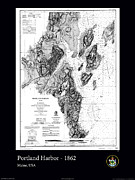 Nautical Chart Photos - Portland Harbor 1862 by AOC Images
