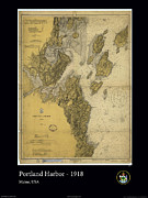 Nautical Chart Photos - Portland Harbor 1918 by AOC Images