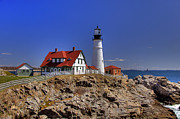 Maine Lighthouses Framed Prints - Portland Head Light 3 Framed Print by Joann Vitali