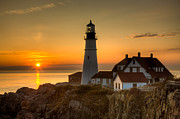 Maine Lighthouses Photo Posters - Portland Head Light at Sunrise II Poster by Clarence Holmes