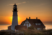 Maine Lighthouses Framed Prints - Portland Head Light at Sunrise III Framed Print by Clarence Holmes