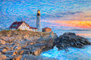 Maine Shore Framed Prints - Portland Head Light at Sunrise Impasto I Framed Print by Clarence Holmes