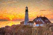 Maine Lighthouses Posters - Portland Head Light at Sunrise Impasto II Poster by Clarence Holmes