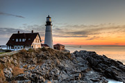 Maine Lighthouses Framed Prints - Portland Head Light at Sunrise IV Framed Print by Clarence Holmes