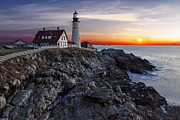 Portland Harbor Framed Prints - Portland Head Light Awakes Framed Print by Susan Candelario