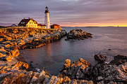 New England Ocean Framed Prints - Portland Head Light Framed Print by Benjamin Williamson