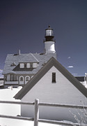 New England Lighthouse Prints - Portland Head Light in IR Print by Joann Vitali