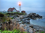 Maine Shore Originals - Portland Head Light In The Morning by Carolyn Fletcher