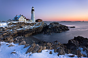 Cape Elizabeth Framed Prints - Portland Head Light in Winter Framed Print by Benjamin Williamson