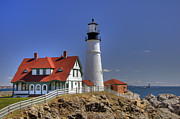 Ledge Photo Posters - Portland Head Light Poster by Joann Vitali