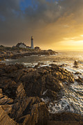 Sunrise  Posters - Portland Head Light Poster by Joseph Rossbach