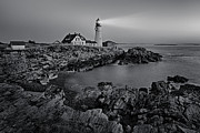 Portland Head Lighthouse Framed Prints - Portland Head Light Sunrise BW Framed Print by Susan Candelario
