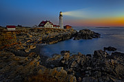 Maine Shore Framed Prints - Portland Head Light Sunrise Framed Print by Susan Candelario
