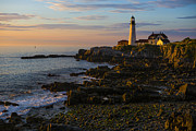 Maine Ocean Posters - Portland Head Lighthouse at Dawn Poster by Diane Diederich