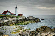 Maine Shore Framed Prints - Portland Head Lighthouse Framed Print by Joan Carroll