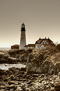 Maine Lighthouses Posters - Portland Head Lighthouse Poster by Joann Vitali