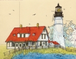 New England Lighthouse Paintings - Portland Head Lighthouse ME Nautical Chart Map Art by Cathy Peek