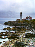 Maine Shore Originals - Portland Head Lights Beautiful Coast by Carolyn Fletcher
