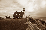 Photos Of Lighthouses Photo Posters - Portland Head Sepia Tone Poster by Skip Willits