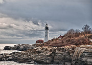 Www.guywhiteleyphoto.com Framed Prints - Portland Headlight 20533 Framed Print by Guy Whiteley