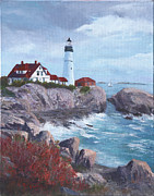 Maine Shore Painting Prints - Portland Headlight in Maine Print by Bev Finger