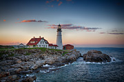 John Haldane Prints - Portland Headlight Sunset Print by John Haldane