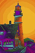 Maine Lighthouses Digital Art Prints - Portland Headlight Print by Susan Elizabeth Dalton