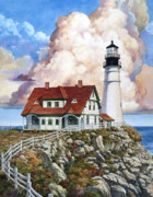 Maine Paintings - Portland Light by Tom Wooldridge