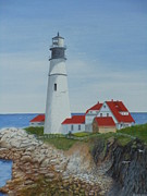 Red-roofed Buildings Posters - Portland lighthouse Poster by James Lawler