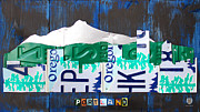Mountains Mixed Media Posters - Portland Oregon Skyline License Plate Art Poster by Design Turnpike
