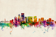 Skylines Digital Art Posters - Portland Oregon Skyline Poster by Michael Tompsett