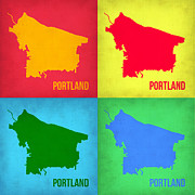 World Map Digital Art Metal Prints - Portland Pop Art Map 1 Metal Print by Irina  March