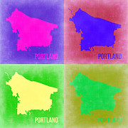 World Map Digital Art Metal Prints - Portland Pop Art Map 2 Metal Print by Irina  March