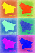 Portland Framed Prints - Portland Pop Art Map 3 Framed Print by Irina  March