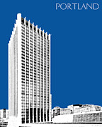 Portland Skyline Wells Fargo Building - Royal Blue Print by DB Artist