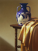 Table Cloth Pastels Metal Prints - Portland Vase with Cloth Metal Print by Barbara Groff