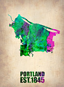World Map Digital Art Metal Prints - Portland Watercolor Map Metal Print by Irina  March