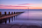 Dawn Prints - Portobello Beach Groynes color Print by John Farnan