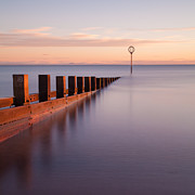 Pastel Colors Framed Prints - Portobello Beach Groynes Framed Print by John Farnan