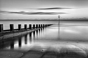 Scottish Landscape Print Framed Prints - Portobello Beach Groynes Monochromatic Framed Print by John Farnan