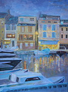 Boats In Harbor Posters - Portofino at Dusk Poster by Barbara Lynn Dunn
