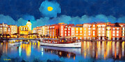 Sea Moon Full Moon Paintings - Portofino by night by George Rossidis