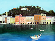 Coastal Art Posters - Portofino By The Sea Poster by Larry Cirigliano