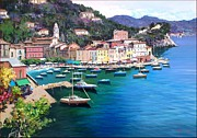 Riomaggiore Paintings - Portofino Gulf of A.Ianicelli by Antonio Ianicelli
