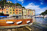 Northern Italy Framed Prints - Portofino Harbor Close Up Framed Print by George Oze
