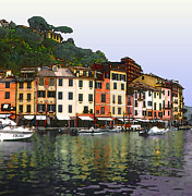 Fishing Village Posters - Portofino Harbor Poster by Linda  Parker