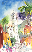 Portofino Italy Drawings - Portofino in Italy 01 by Miki De Goodaboom