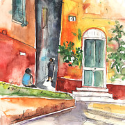 Portofino Italy Drawings - Portofino in Italy 02 by Miki De Goodaboom