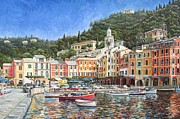 Portofino Italy Boats Framed Prints - Portofino Italy Framed Print by Mike Rabe